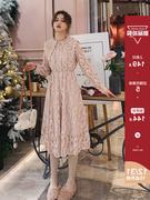 过膝蕾丝连衣裙女秋冬2018维多利亚法国小众收腰复古打底长裙