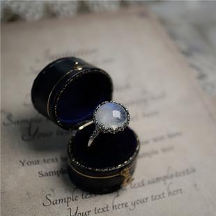 泰银复古夸张天然月光石戒指食指大码胖人戒指宝石水晶首饰礼物
