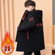 冬季外套男加绒加厚学生2018帅气夹克中长款抓绒棉服风衣