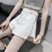白色牛仔短裤女2021年夏季网红侧拉链高腰显瘦百搭热裤潮