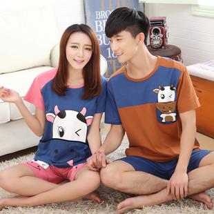 情侣睡衣女夏季短袖100%纯棉青少年中学生可爱卡通男士家居服套装