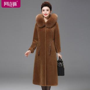 皮毛一体外套女2018羊剪绒大衣中长款颗粒绒海宁皮草冬季