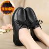 秋冬妈妈鞋单鞋真皮舒适软底中老年女鞋中年老人防滑平跟工作皮鞋