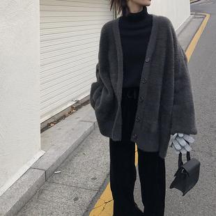 EKOOL马海毛宽松毛衣外套女秋冬季显瘦加厚中长款V领针织开衫