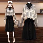 大码女装秋冬装2020年洋气减龄毛衣连衣裙胖妹妹显瘦两件套装