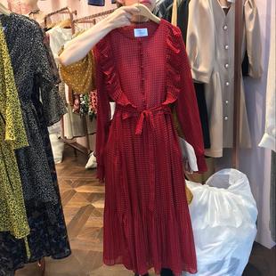 韩国东大门2019春季红色长袖雪纺波点印花连衣裙女气质仙女裙