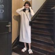 秋冬女装宽松长款针织裙高领打底裙外穿长袖毛衣连衣裙长裙女
