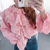 宫廷复古公主堆堆领粉色衬衫女泡泡袖镂空花朵甜美可爱娃娃衫上衣