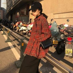 秋冬chic复古英伦风宽松显瘦翻领加厚格子衬衫外套女上衣