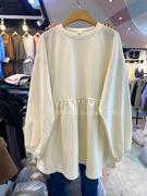 韩国东大门孕妇装2021冬季宽松百搭韩版纯色上衣套头娃娃衫