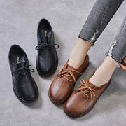 复古系带平跟单鞋休闲妈妈鞋软底手工真皮女鞋牛筋厚底中老年皮鞋