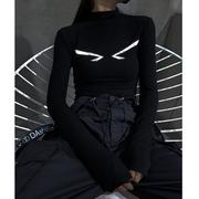 黑色打底衫女内搭2020秋冬百搭紧身显瘦长袖T恤弹力上衣冬季