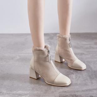 鞋夫人方头前拉链高跟短靴子女粗跟冬加绒ins网红瘦瘦靴短筒百搭
