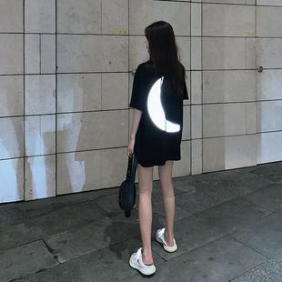 夏季2019反光月亮短袖T恤女装宽松中长款黑色上衣ins潮
