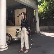 2019春季复古波点雪纺衬衫女长袖百搭上衣宽松洋气衬衣潮