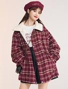 加绒加厚宽松红色格子中长款羊羔毛外套女2021秋冬小个子上衣