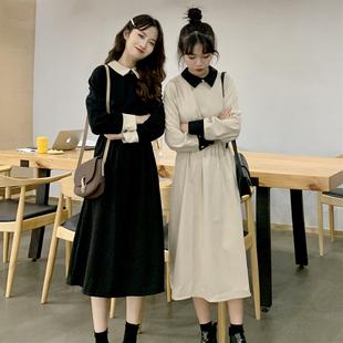 春季chic复古气质高腰显瘦中长款纯色长袖连衣裙长裙女士裙子
