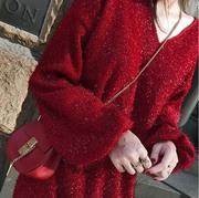 闪闪亮晶晶很仙的套头毛衣女秋冬季中长款宽松亮丝针织连衣裙百搭