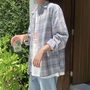 阿茶与阿古小清新格子衬衫男长袖学院风蓝色调拼色格纹衬衣