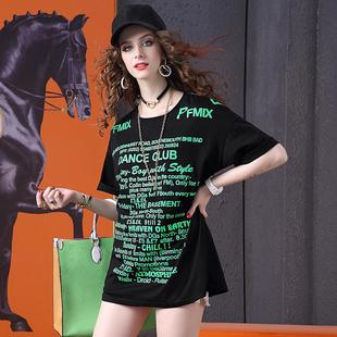 夏装下衣失踪T恤女欧洲站2019字母印花潮牌百搭中长款体恤裙