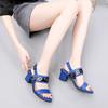 时尚羊皮真皮拼牛皮异形高跟粗跟露趾女鞋子一字扣带凉鞋X176-1