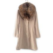 安系列 秋冬女装库存折扣中长款大毛领气质羊毛大衣Y1500