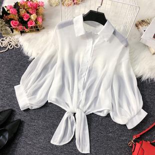 短款防晒衫女2019夏很仙的百搭空调开衫薄款洋气雪纺披肩上衣