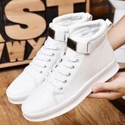 增高秋冬季男鞋高帮系带白鞋加绒厚底板鞋男小白中邦棉鞋