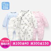 婴儿衣服新生儿夹棉宝宝连体衣婴儿春装女加厚保暖0-1岁春款哈衣