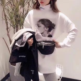 欧货大版内搭高领打底衫2019春秋时尚宽松长袖白色t恤女洋气上衣