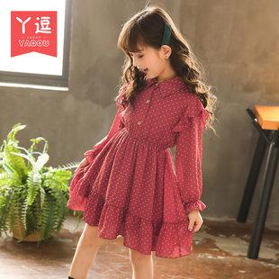 童装女童连衣裙2019春装洋气长袖儿童公主裙女孩红色裙子