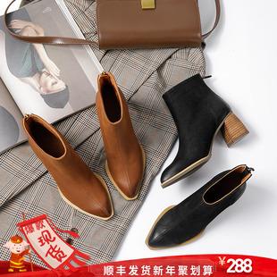 真皮尖头靴子女短靴秋季马丁靴女2018粗跟短筒后拉链单靴女鞋
