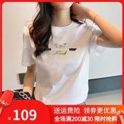 2021夏装白色女t恤短袖字母印花纯棉大码宽松韩版修身圆领潮