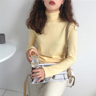 百思朵冬季鹅黄色毛衣女内搭亮黄色针织衫高领显瘦弹性打底衫