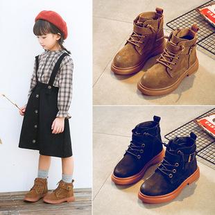 女童靴子2018秋冬季童鞋儿童短靴男童马丁靴加绒公主雪地棉鞋
