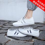 2021秋季真皮牛皮平底平跟一脚蹬免系带小白鞋休闲板鞋女鞋