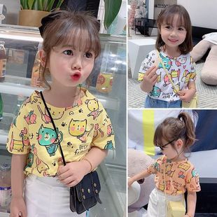 女童 2020夏装短袖宝宝儿童卡通T恤夏季打底衫童装半袖上衣潮T
