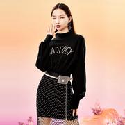 洛丽帕女装气质黑色长袖连衣裙2021春装收腰修身半高领裙子