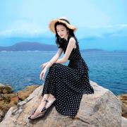 夏季时尚黑白波点蛋糕裙热带海边旅游沙滩裙长裙修身连衣裙子