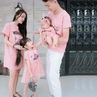 亲子装夏装一家三口全家装母子母女婴幼儿家庭装连衣裙t恤
