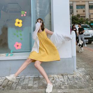 黄色连衣裙女2019夏季小个子清新高腰无袖显瘦宽松吊带娃娃裙