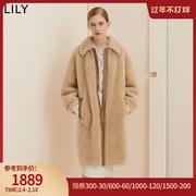 【商场同款】LILY2020冬季女装拼接羊皮革加厚羊毛皮草大衣