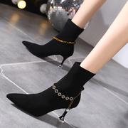 高跟鞋女2021秋冬尖头细跟短靴皮带扣针织弹力中筒瘦瘦马丁靴