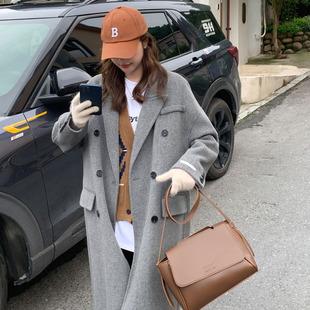 高端双面羊绒大衣女中长款2021秋冬季韩版宽松过膝羊毛呢外套