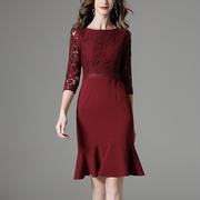婚礼妈妈装春秋气质包臀鱼尾裙喜婆婆结婚宴会礼服红色蕾丝连衣裙