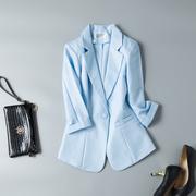 中袖小西装女外套百搭2019春装七分袖棉麻小西服女士薄款