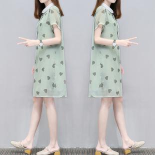 2019夏季女装时尚翻领娃娃领宽松裙子中长款大码显瘦连衣裙女