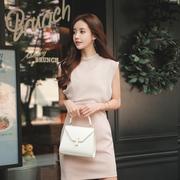 粉色雪纺连衣裙女夏2019收腰显瘦气质圆领无袖裙子