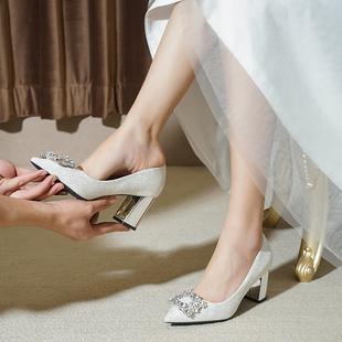 结婚鞋子女粗跟2021年高跟孕妇新娘鞋白色主婚纱鞋伴娘水晶鞋