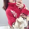 圣诞红色高领宽松毛衣女套头网红加厚外套慵懒风秋冬2018